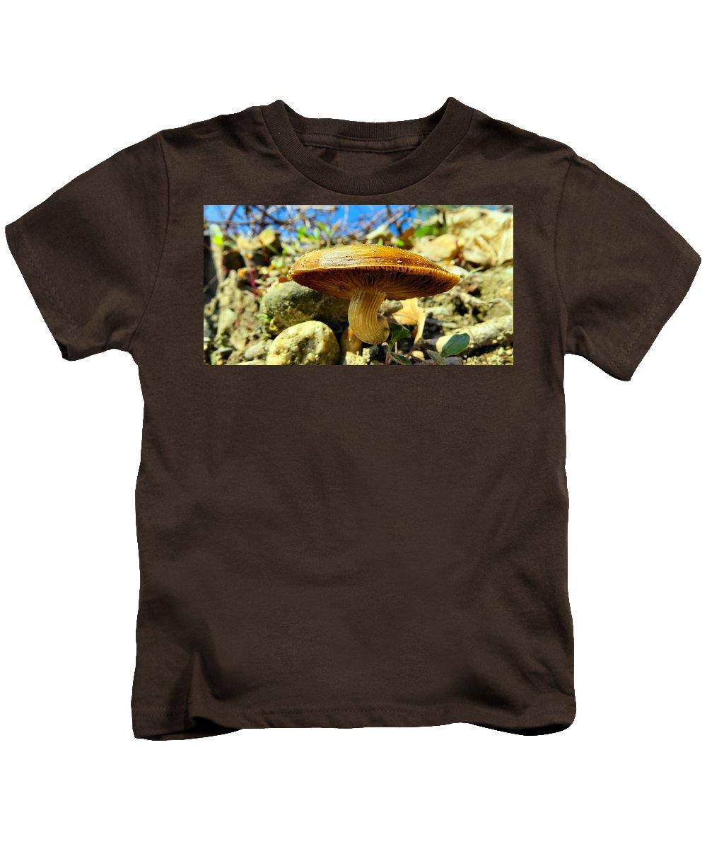 Fungi Kids T-Shirt featuring the photograph Lakeside Mushroom by Art Dingo