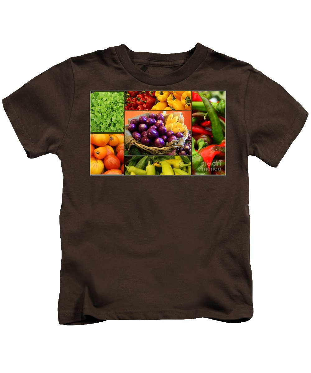 Late Summer's Bounty - Eggplant Kids T-Shirt featuring the photograph Late Summer Harvest by Dora Sofia Caputo Photographic Design and Fine Art