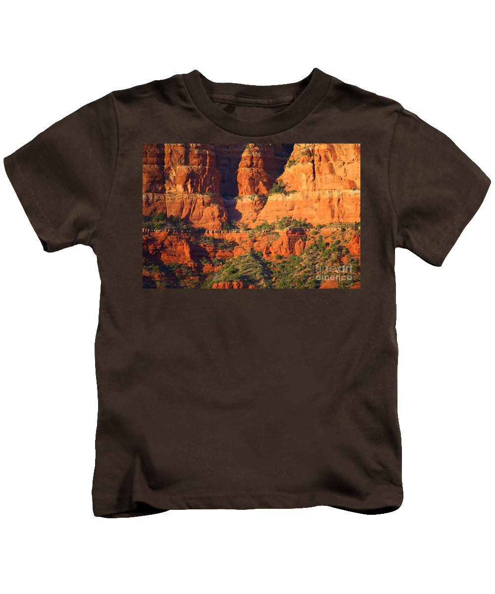 Red Rocks Kids T-Shirt featuring the photograph Layers Of Red Rock by Carol Groenen