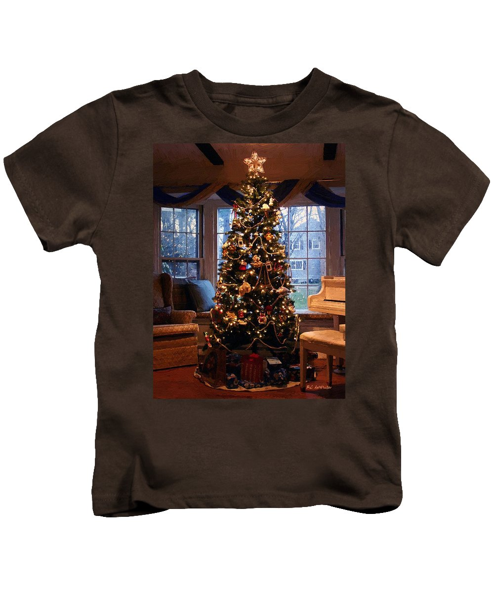Christmas Kids T-Shirt featuring the painting L'elegance De Noel by RC DeWinter