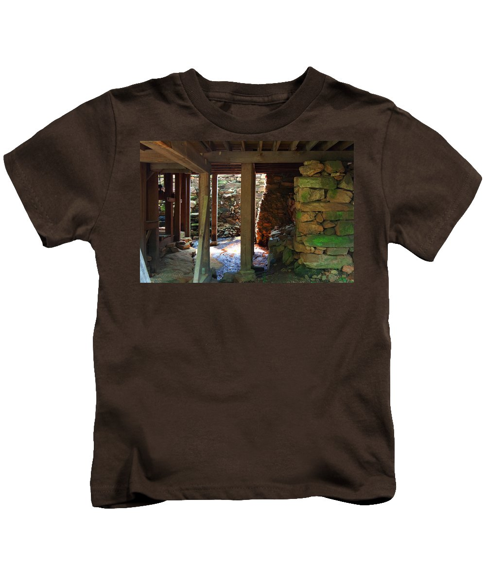Popular Kids T-Shirt featuring the photograph Light And Shadow Below The Mill by Paulette B Wright