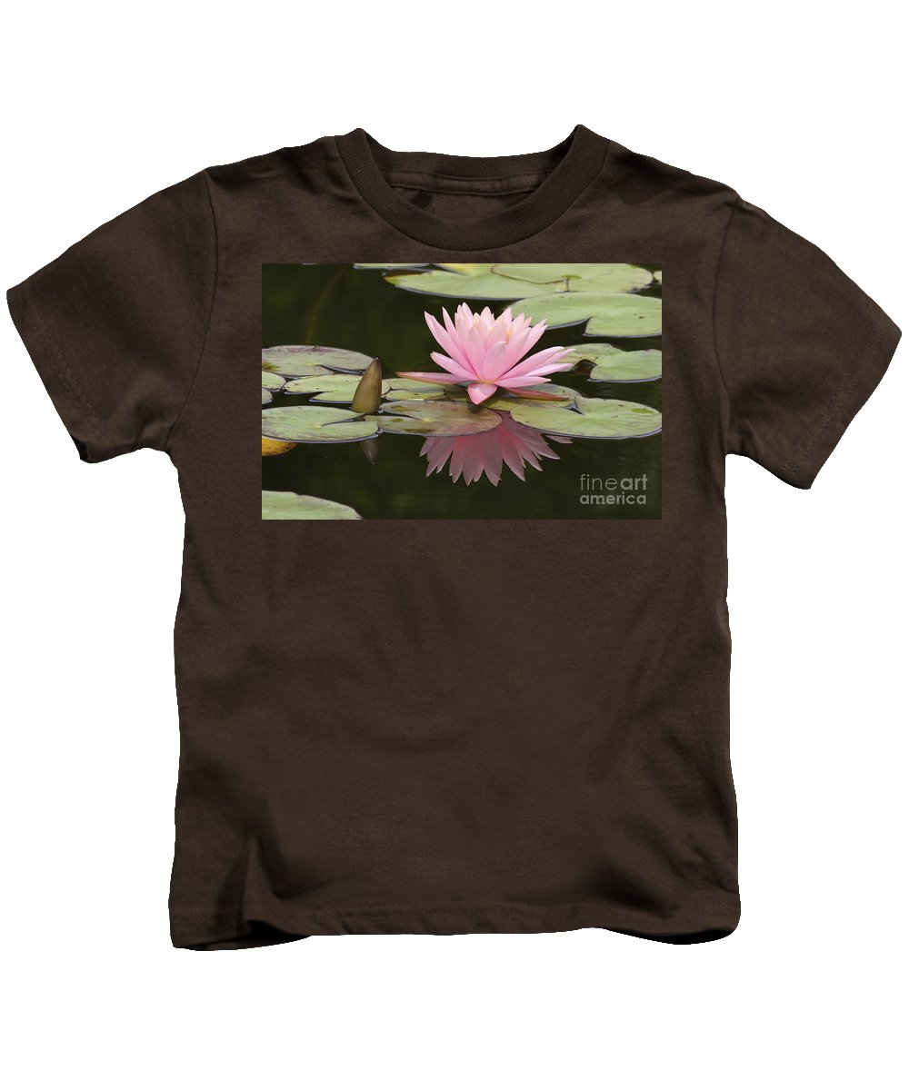 Waterlilly Kids T-Shirt featuring the photograph Lilly And Reflective Beauty by Deborah Benoit