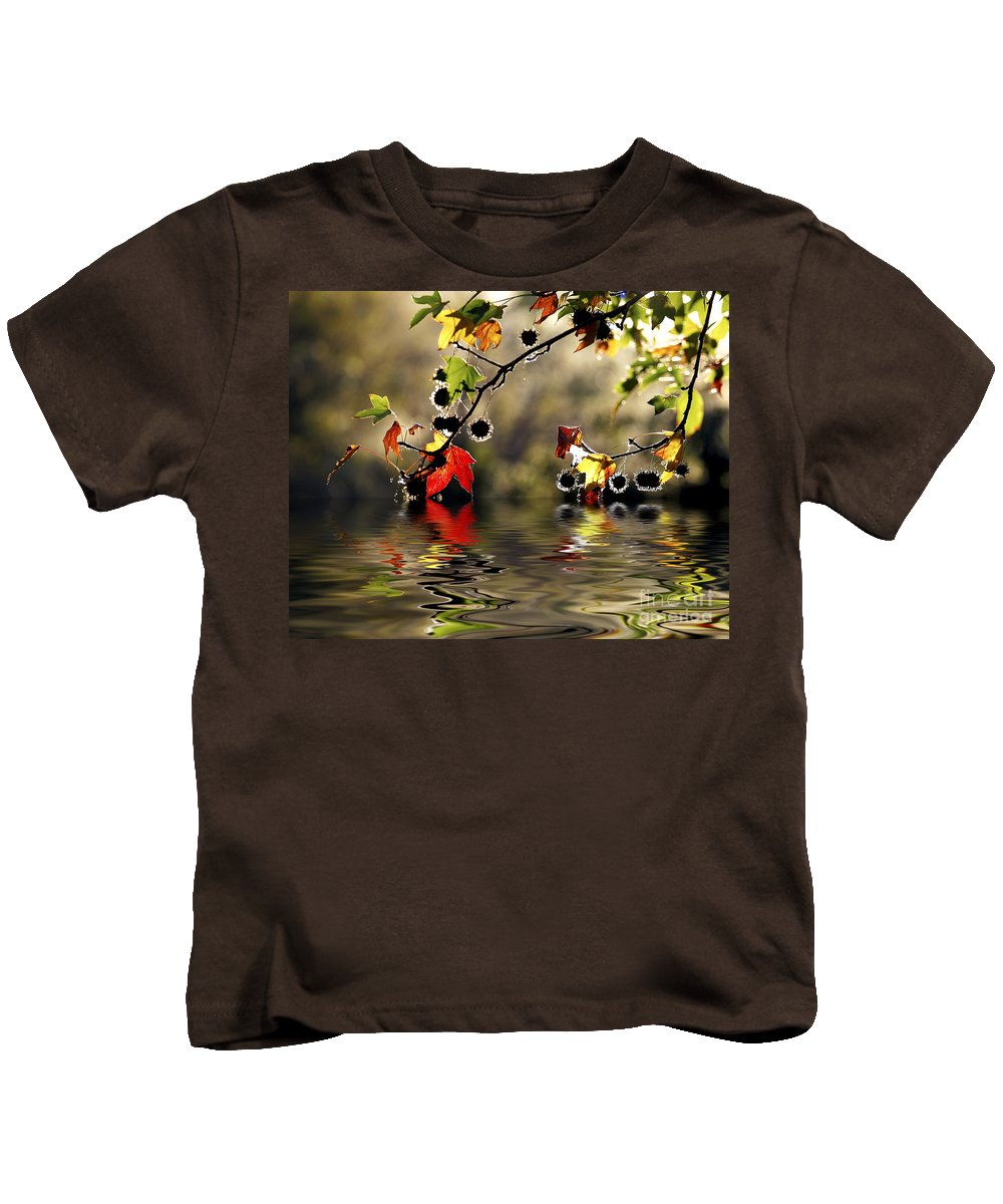 Liquidambar Maple Autumn Fall Flood Water Reflection Kids T-Shirt featuring the photograph Liquidambar In Flood by Sheila Smart Fine Art Photography