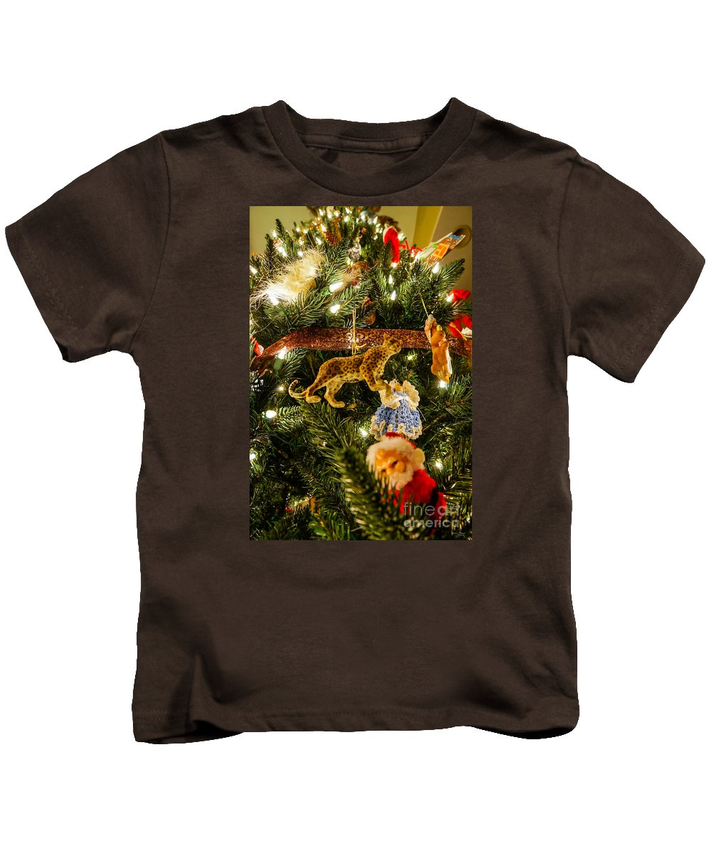 Cheetah Kids T-Shirt featuring the photograph Looking Up The Christmas Tree by Jennifer White