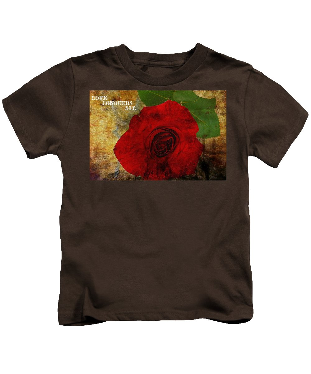 Love Conquers All Kids T-Shirt featuring the digital art Love Conquers All by Dan Sproul