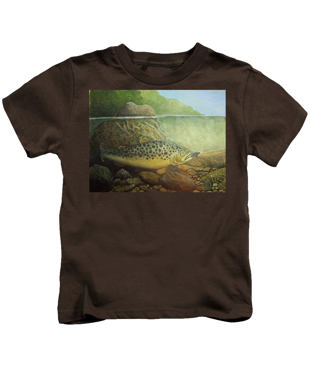 Rick Huotari Kids T-Shirt featuring the painting Lurking by Rick Huotari