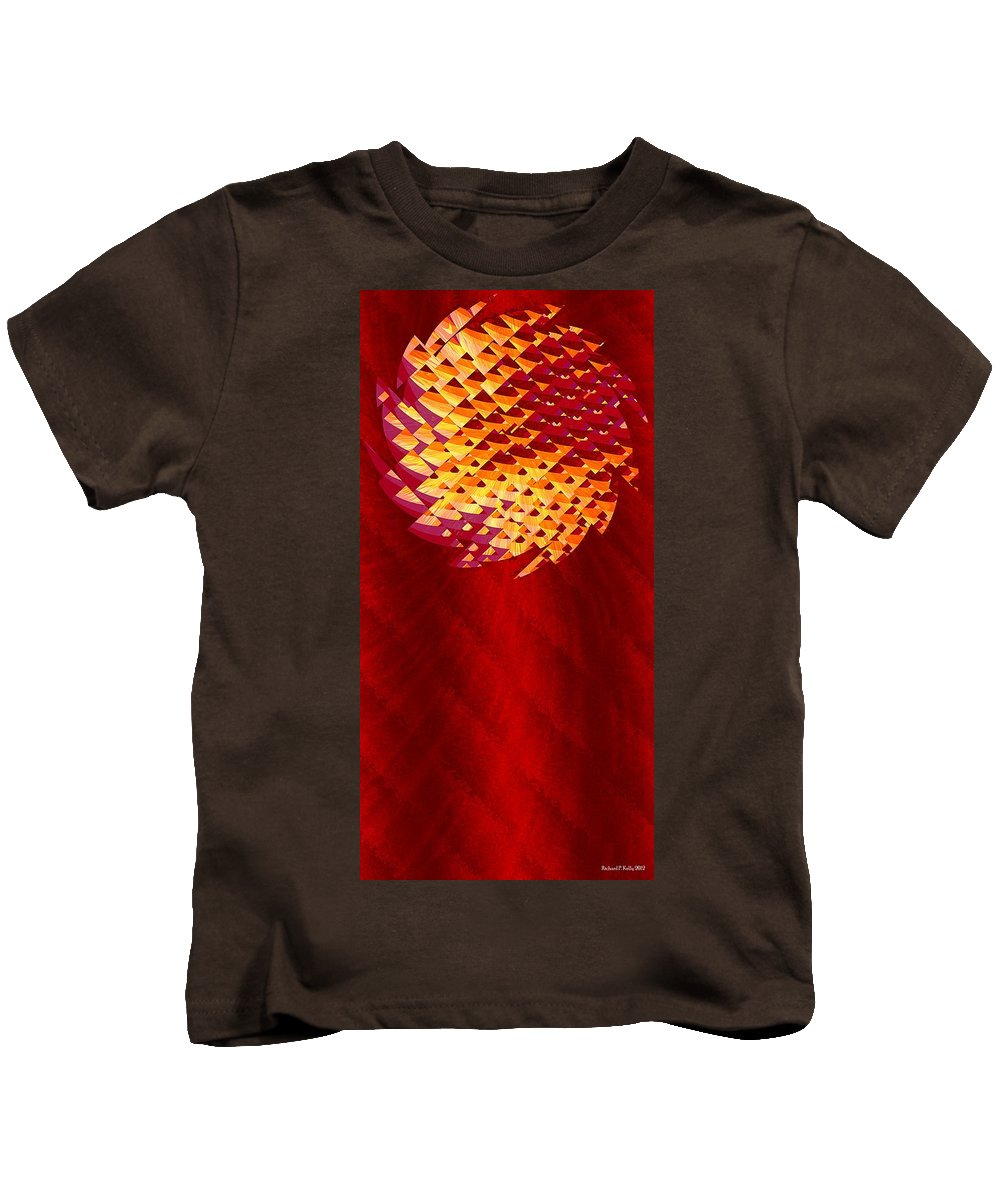 Abstract Kids T-Shirt featuring the digital art Mayan Sun by Richard Kelly