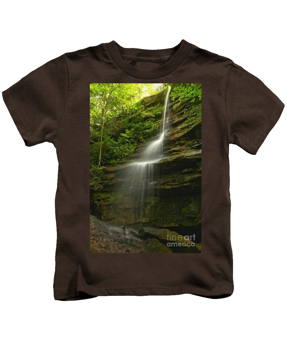 Alpha Falls Kids T-Shirt featuring the photograph Mcconnells Mill Alpha Falls by Adam Jewell