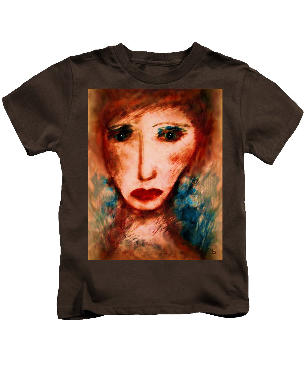 Woman Kids T-Shirt featuring the painting Melancholy by Natalie Holland