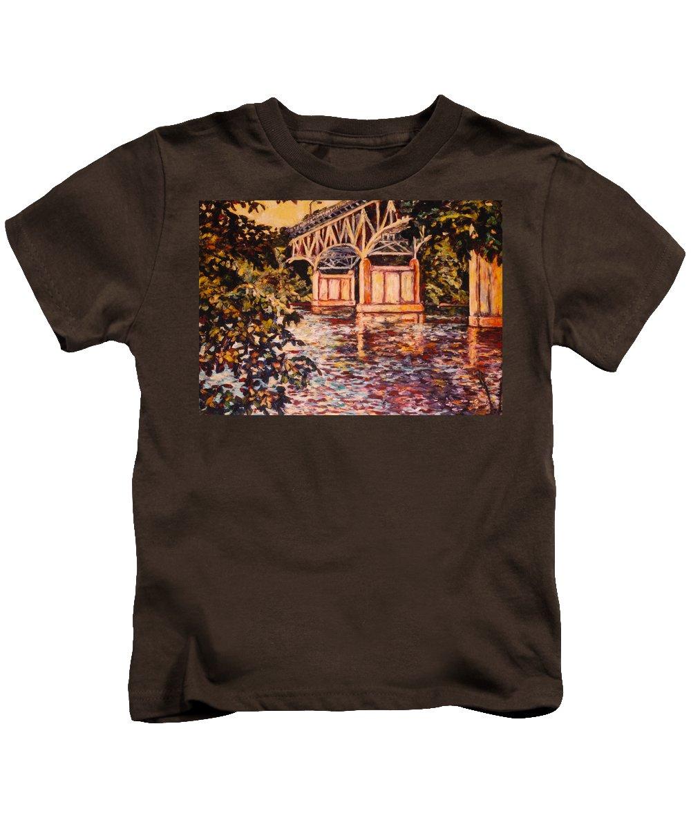 Memorial Bridge Kids T-Shirt featuring the painting Memorial Bridge by Kendall Kessler