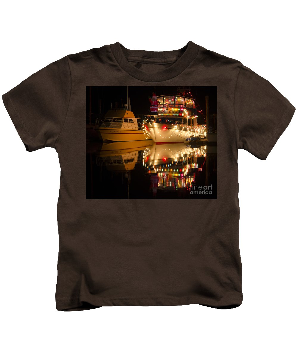 Boat Kids T-Shirt featuring the photograph Merry Christmas Bandon By The Sea 1 by Bob Christopher