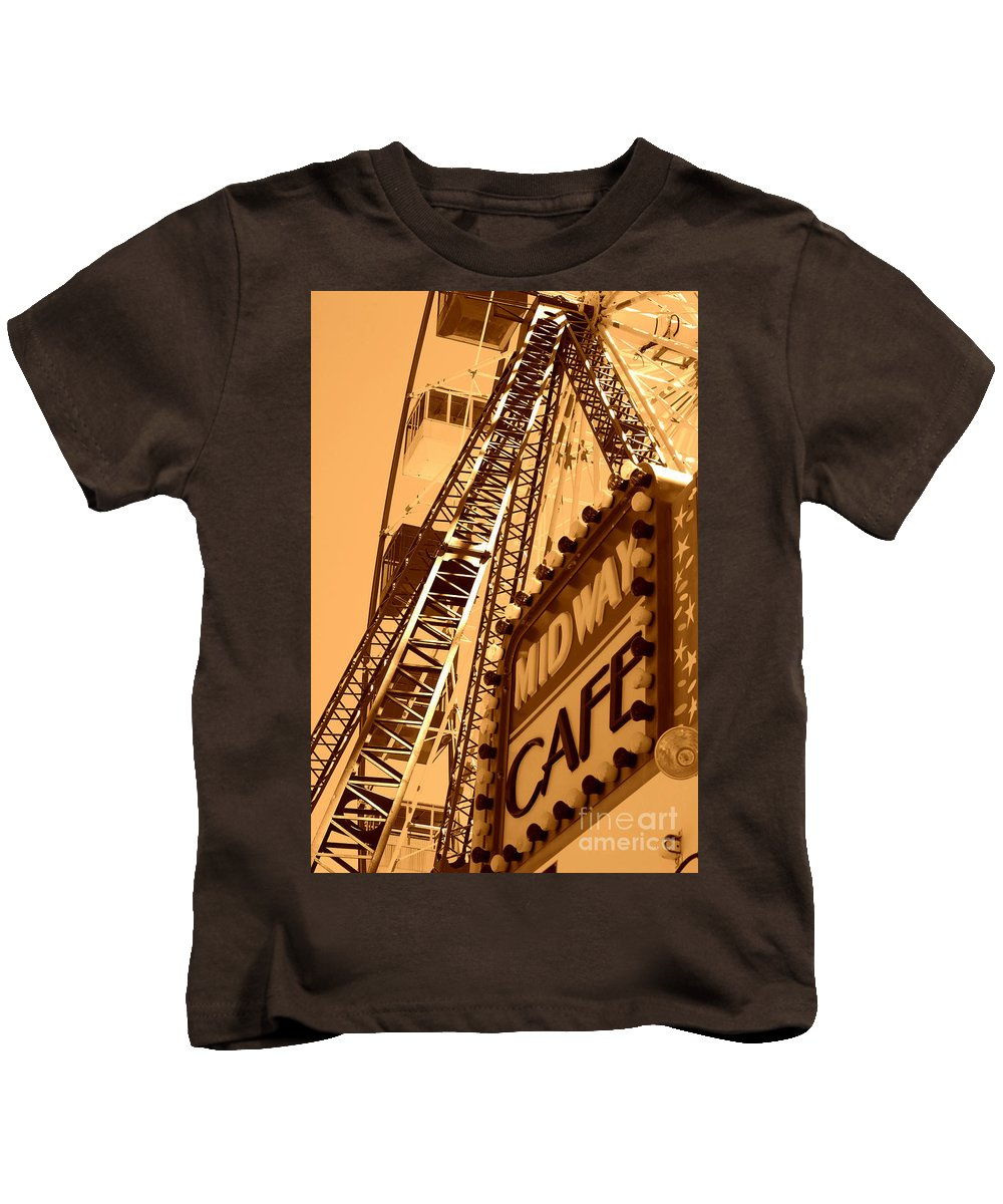 Cafe Kids T-Shirt featuring the photograph Midway Cafe Sepia by Chanel Fernandez