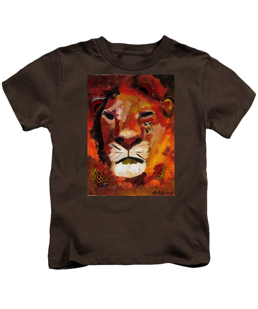 Lion Kids T-Shirt featuring the painting Mighty Lion by Katie Sasser