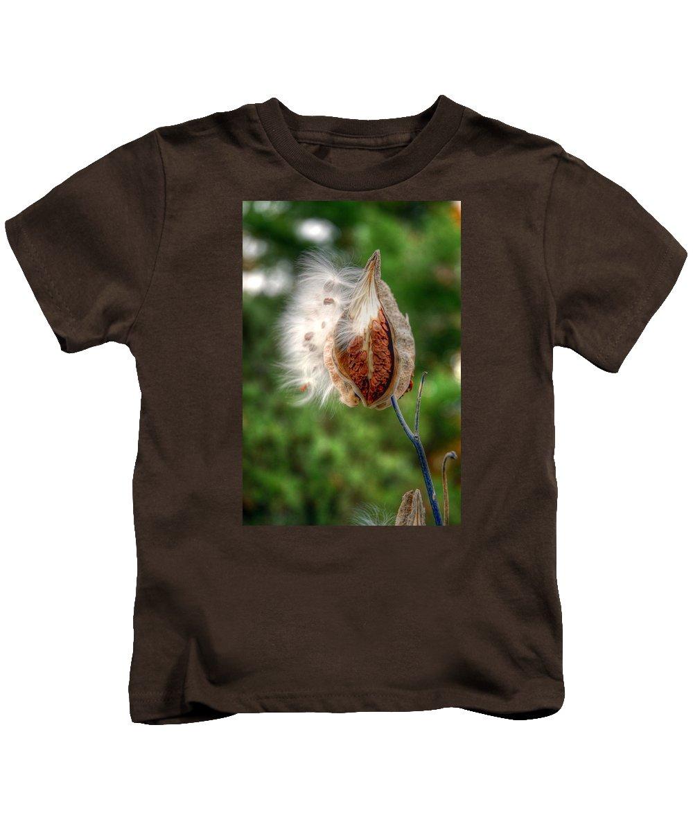 Milkweed Kids T-Shirt featuring the photograph Milkweed by Linda Covino