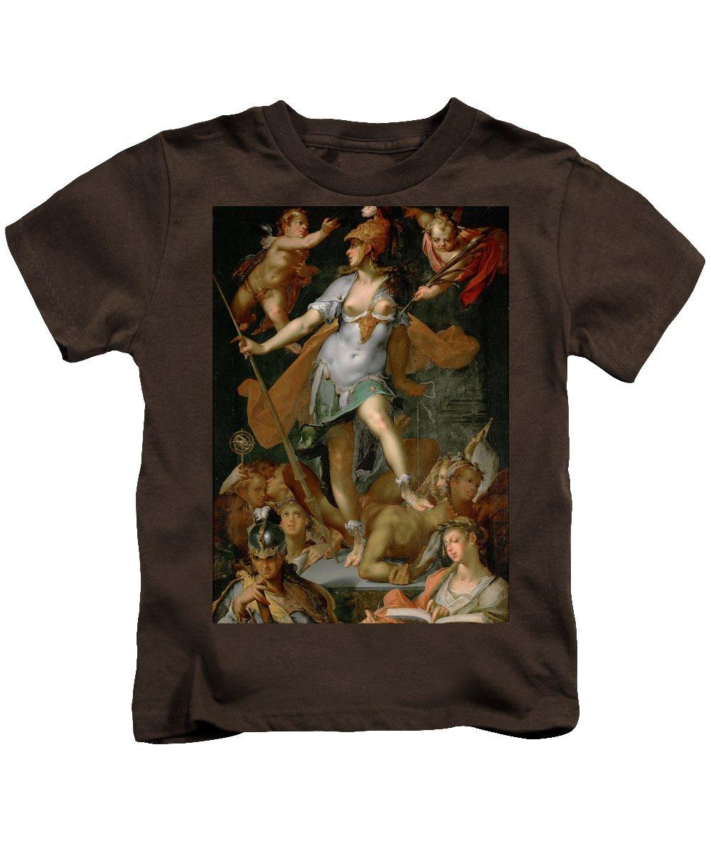Bartholomeus Spranger Kids T-Shirt featuring the painting Minerva Victorious Over Ignorance by Bartholomeus Spranger
