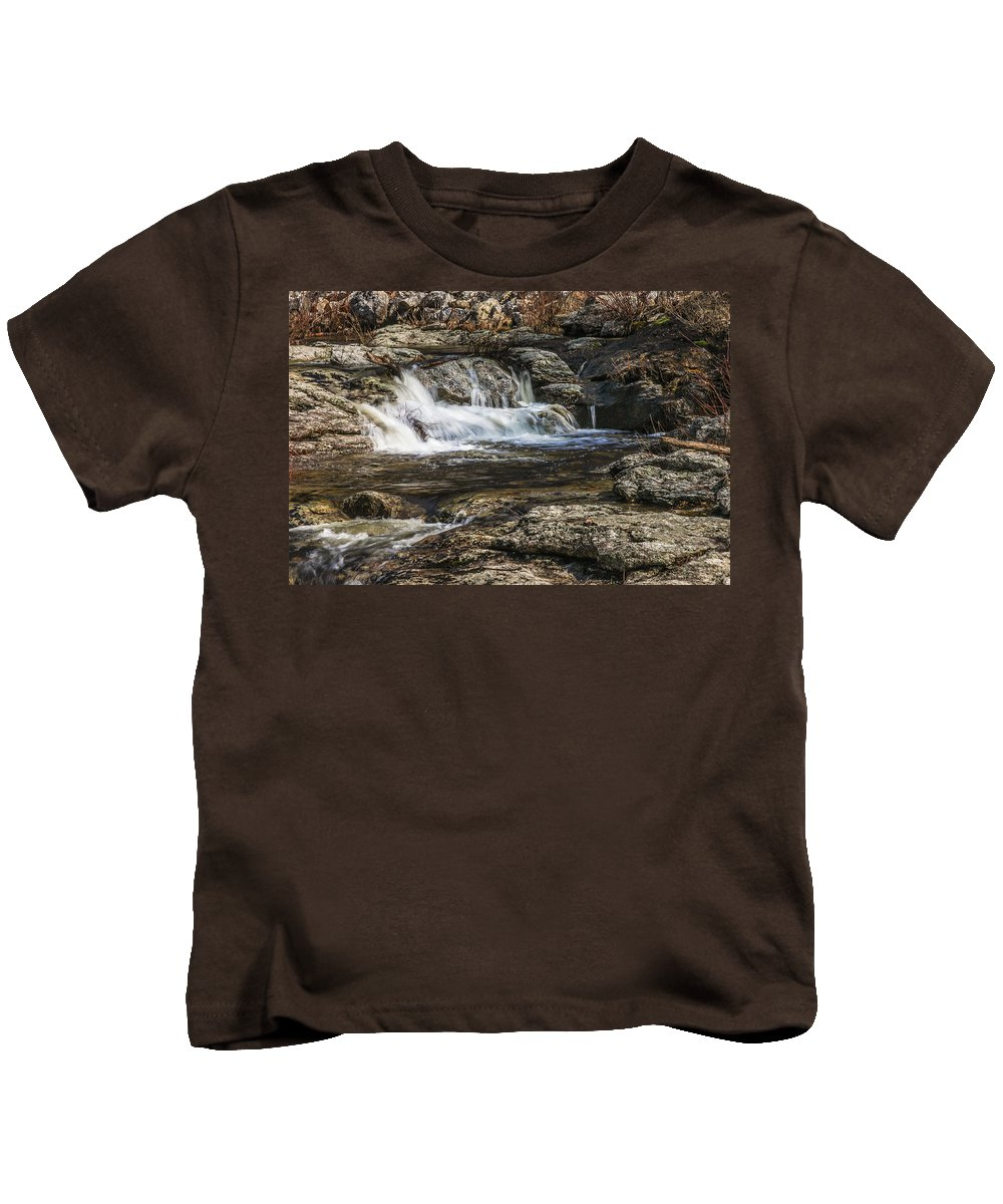 Maine Kids T-Shirt featuring the photograph Mini Waterfall by Jane Luxton