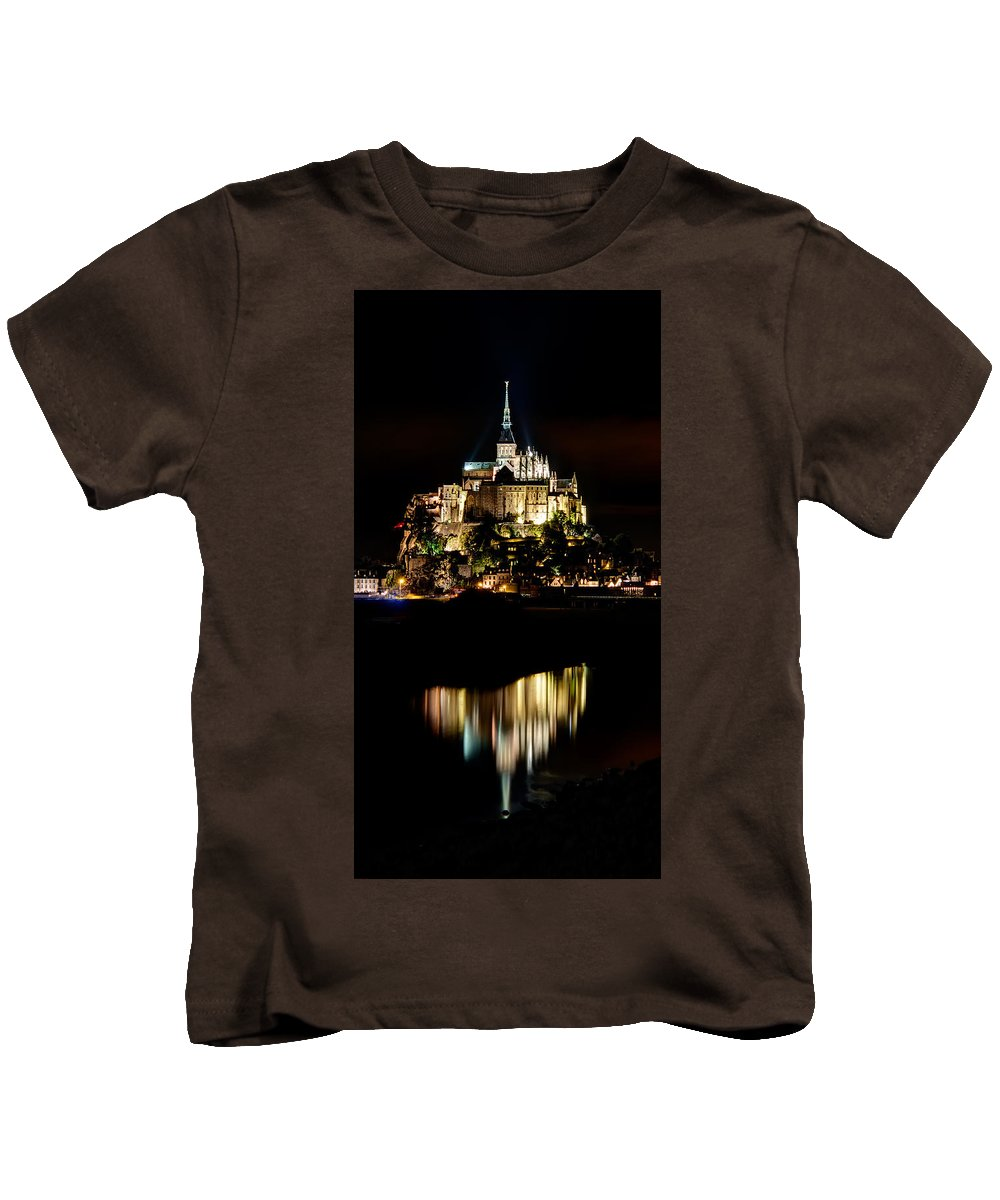 Mont Saint Michel Kids T-Shirt featuring the photograph Mont Saint Michel At Night 1 by Weston Westmoreland