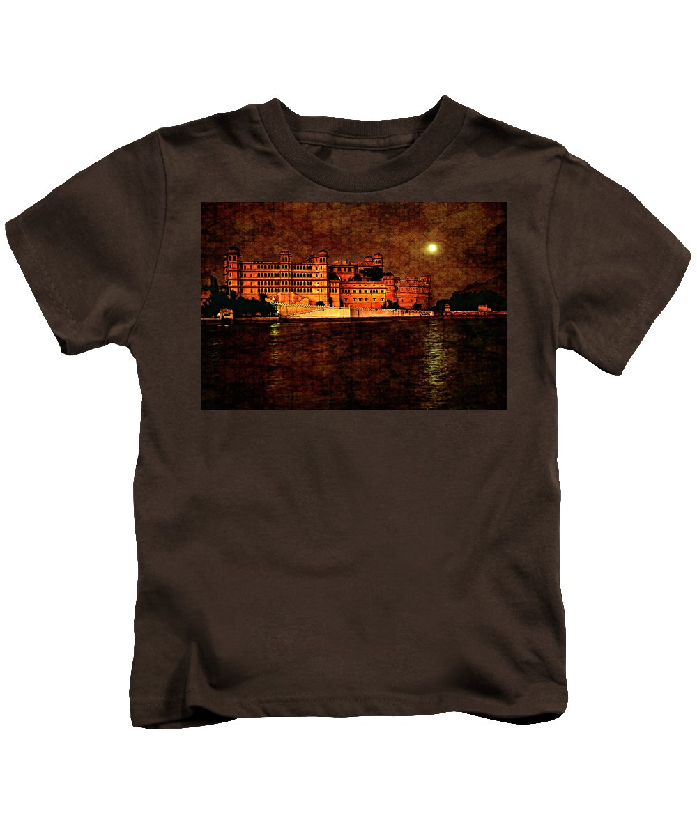 India Kids T-Shirt featuring the photograph Moon Over Udaipur Painted Version by Steve Harrington