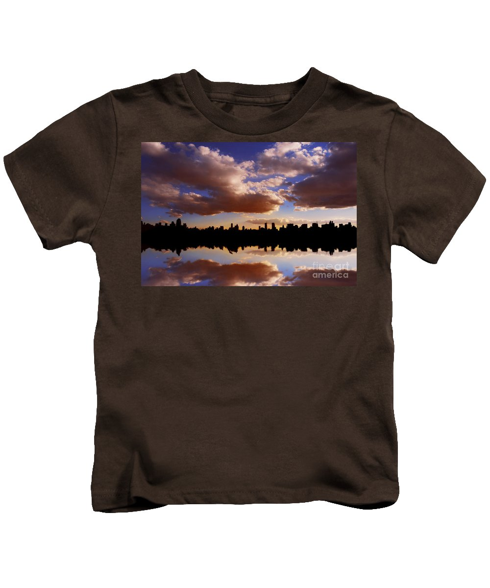 New York City Kids T-Shirt featuring the photograph Morning At The Reservoir New York City Usa by Sabine Jacobs