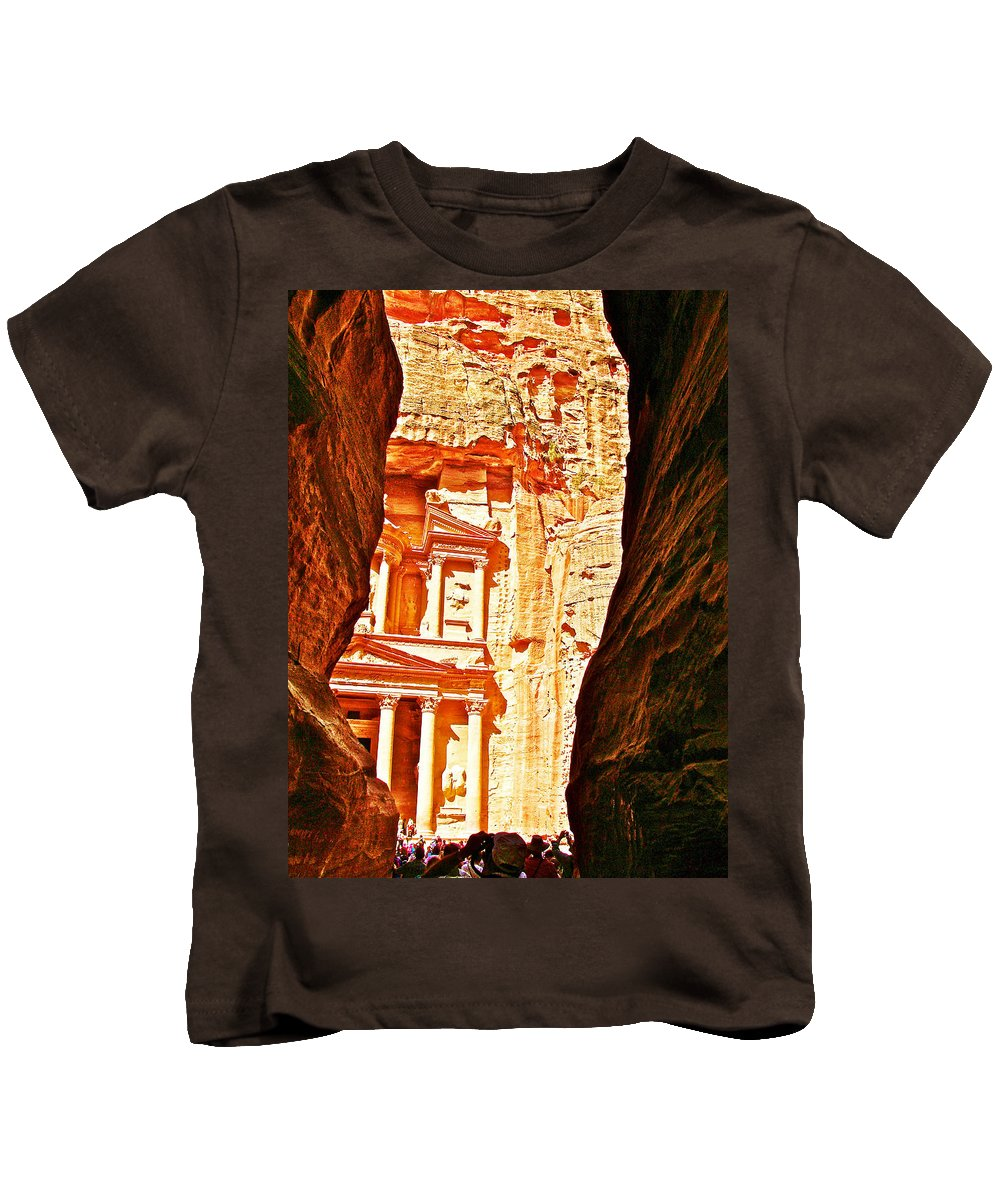 Morning View Of The Treasury From The Gorge In Petra Kids T-Shirt featuring the photograph Morning View Of The Treasury From The Gorge In Petra-jordan by Ruth Hager