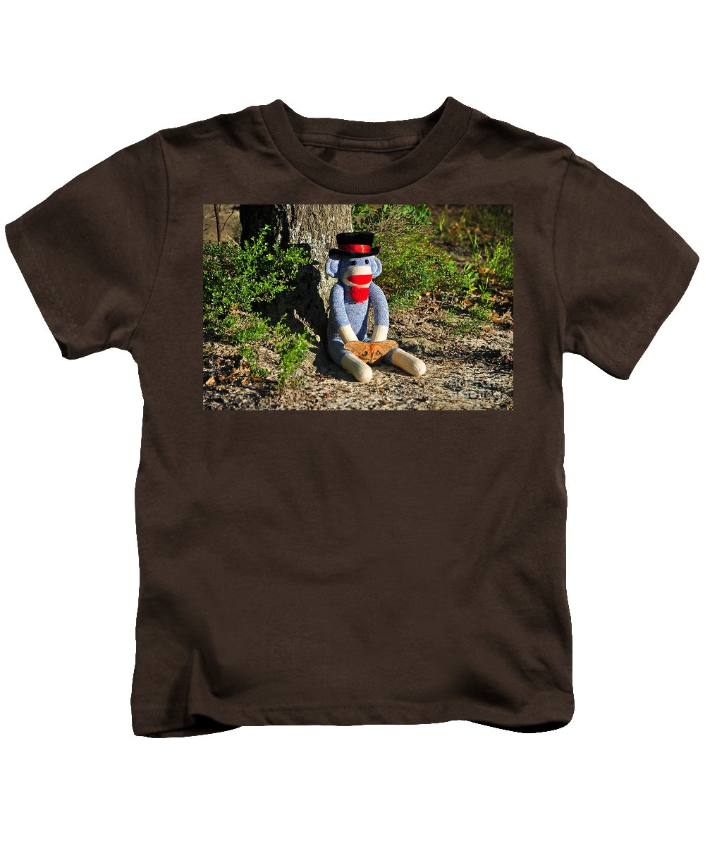 Monkey Kids T-Shirt featuring the photograph Monkey And Moth by Al Powell Photography USA