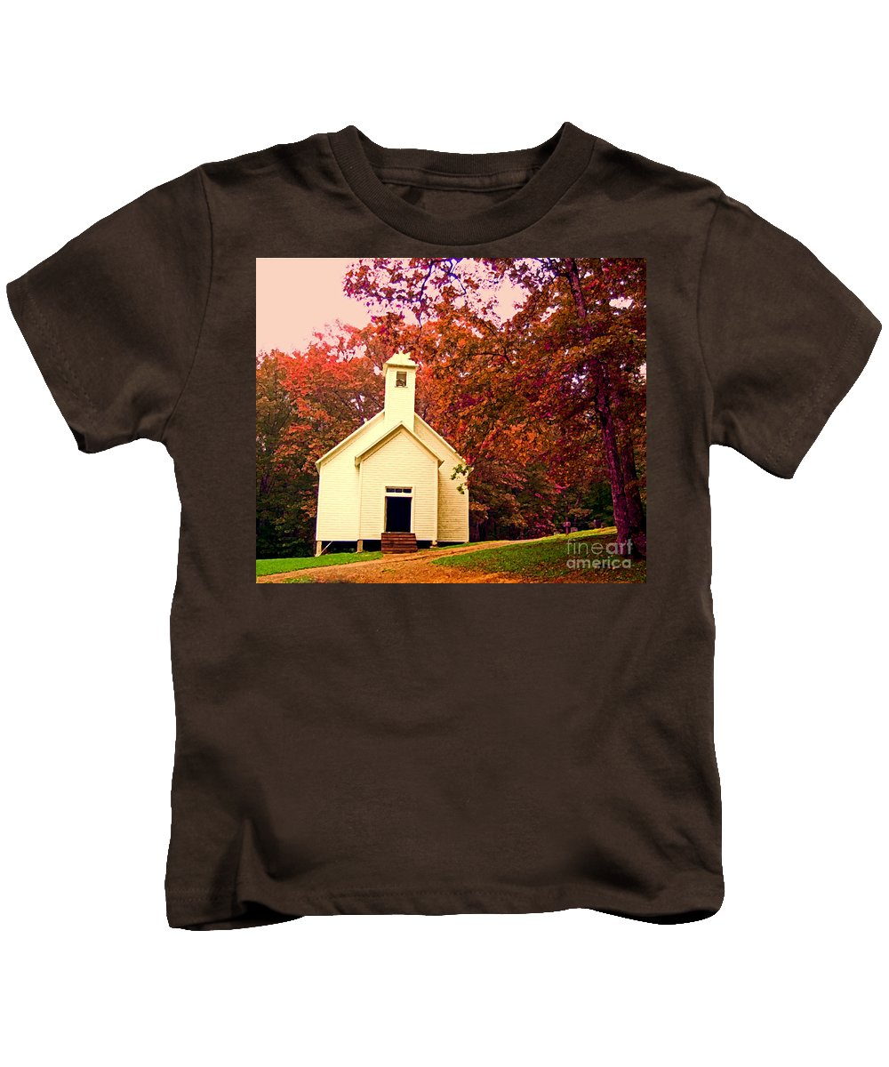 Church Kids T-Shirt featuring the photograph Mountain Church In Fall by Desiree Paquette