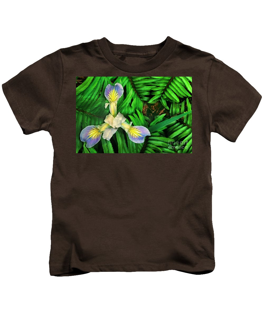 California Wildflower Kids T-Shirt featuring the photograph Mountain Iris And Ferns by Dave Welling
