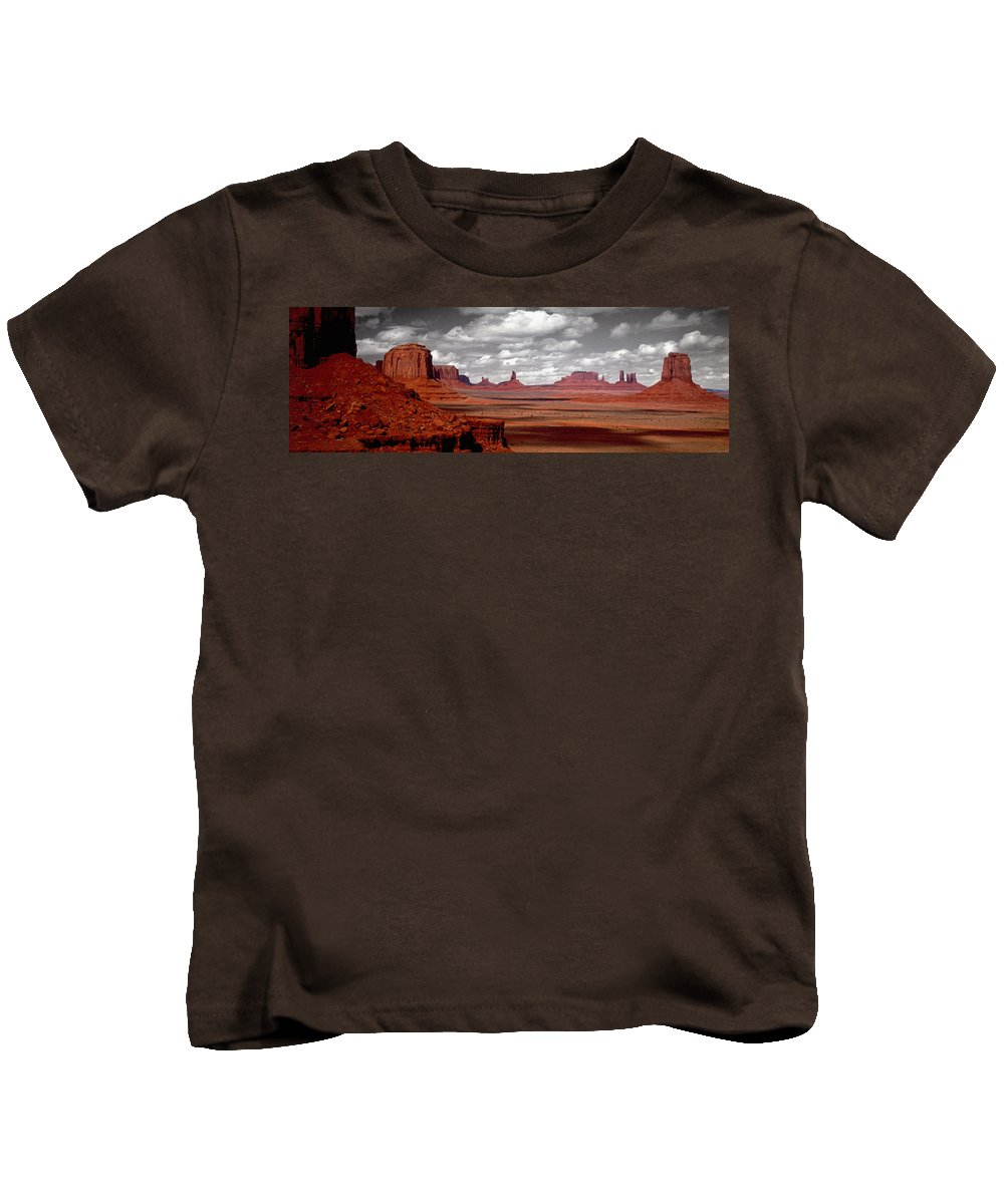 Photography Kids T-Shirt featuring the photograph Mountains, West Coast, Monument Valley by Panoramic Images