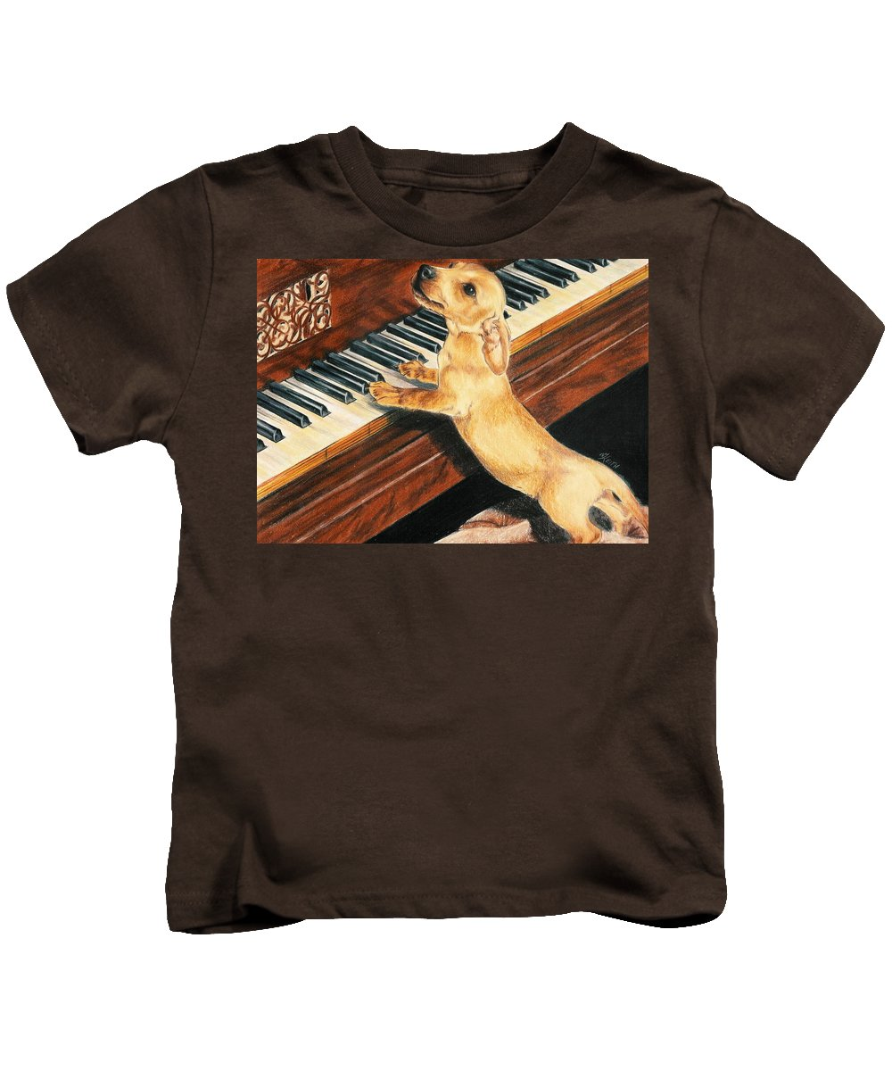 Purebred Dog Kids T-Shirt featuring the drawing Mozart's Apprentice by Barbara Keith