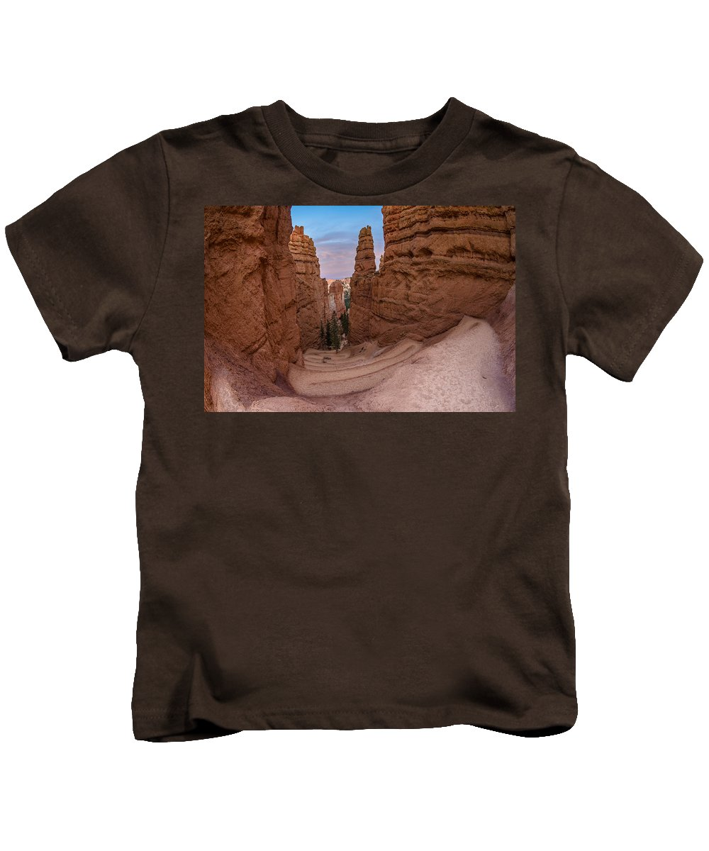 Bryce Canyon Kids T-Shirt featuring the photograph Narrow Passage 1 by Greg Nyquist