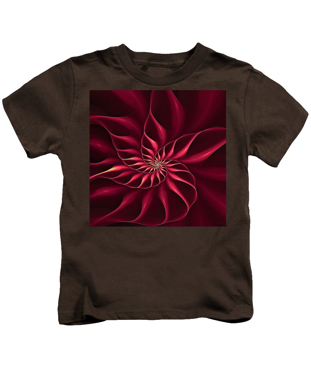 Flower Kids T-Shirt featuring the digital art Nautilus Fractalus Magenta And Yellow by Doug Morgan
