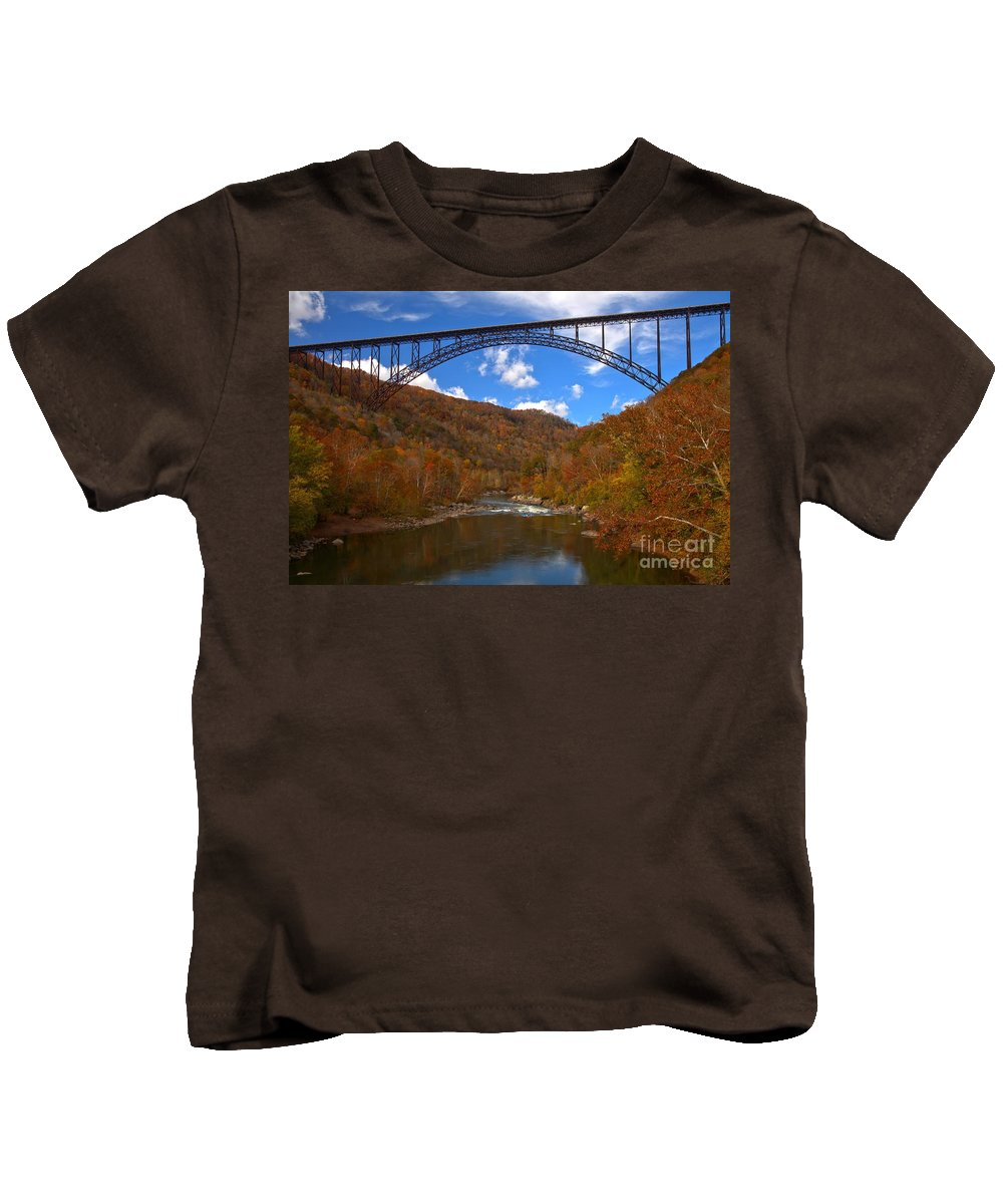 New River Gorge Kids T-Shirt featuring the photograph New River Gorge Fiery Fall Colors by Adam Jewell