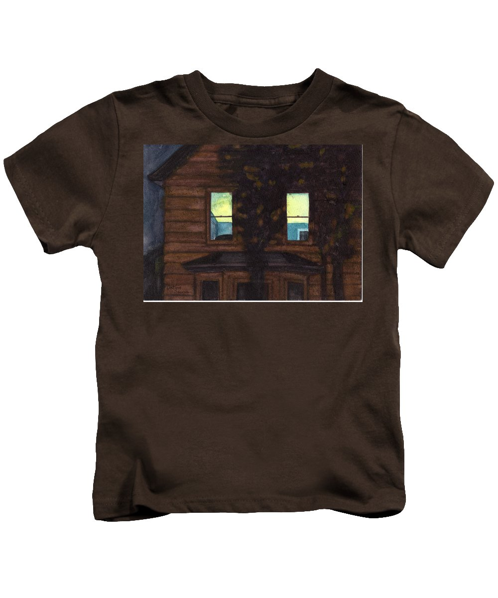 Windows Kids T-Shirt featuring the painting No Curtains by Arthur Barnes
