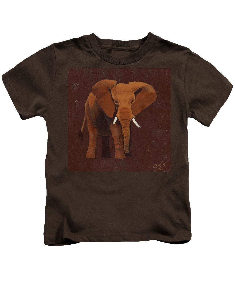 Elephant Kids T-Shirt featuring the painting Ocre Elephant by Sandy Jasper