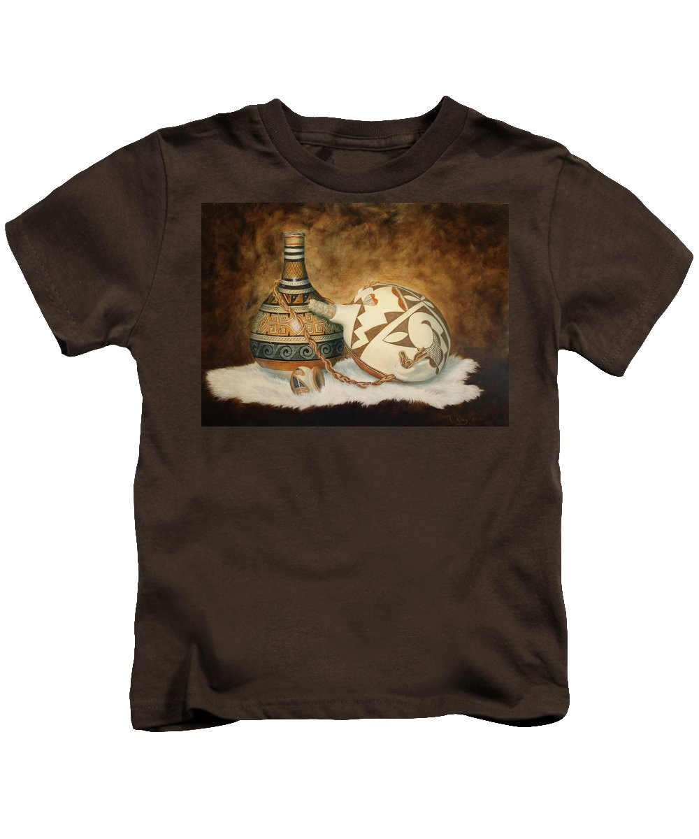 Roena King Kids T-Shirt featuring the painting Oil Painting - Indian Pots by Roena King