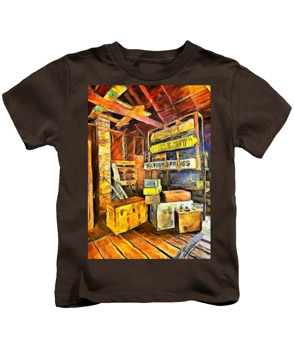Old Baggage Claim Kids T-Shirt featuring the painting Old Baggage Claim by L Wright