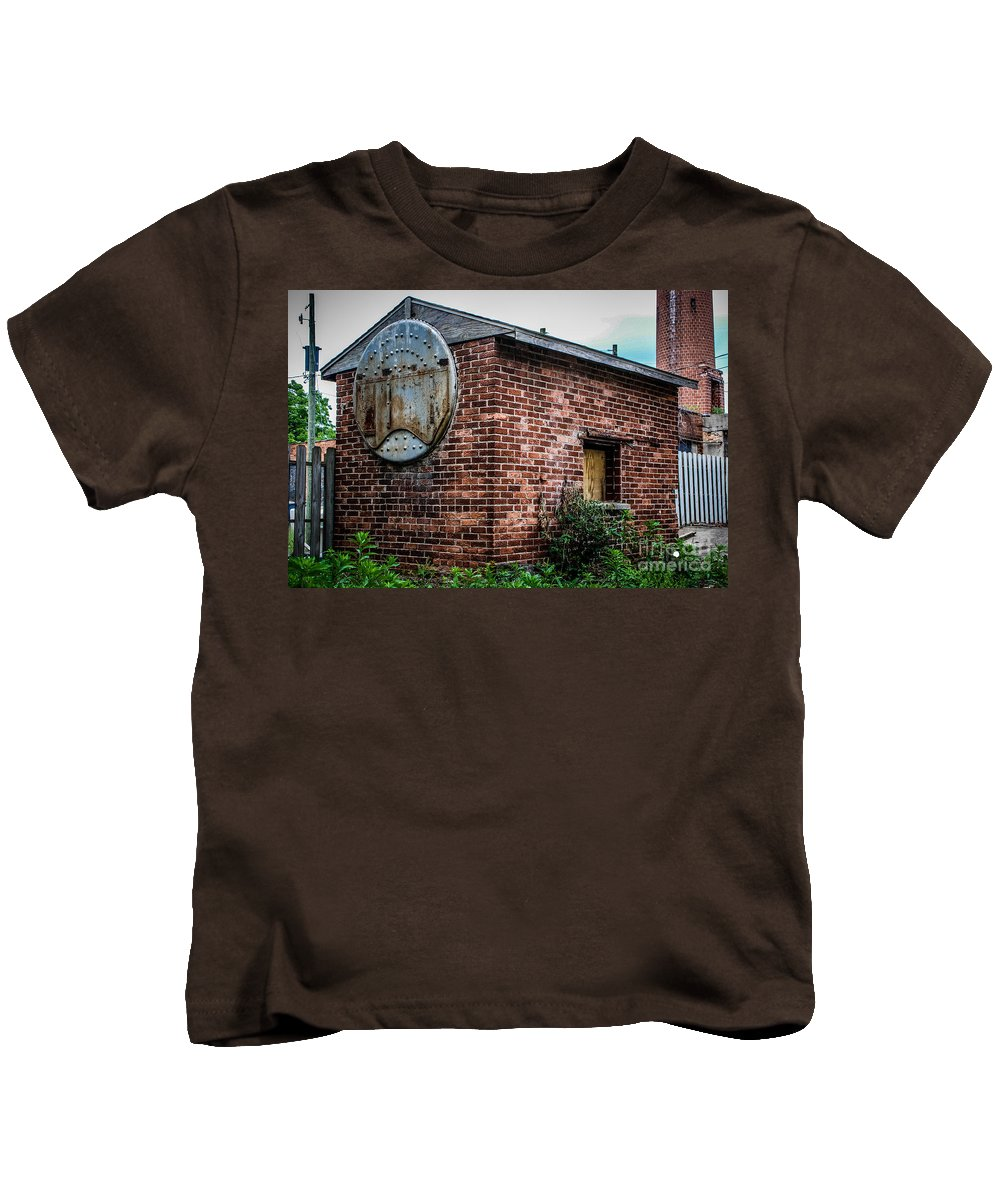 Brick Kids T-Shirt featuring the photograph Old Brick Building by Grace Grogan