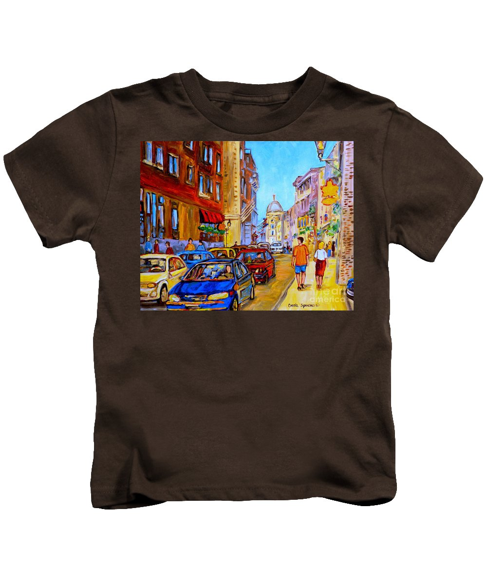 Old Montreal Street Scenes Kids T-Shirt featuring the painting Old Montreal by Carole Spandau