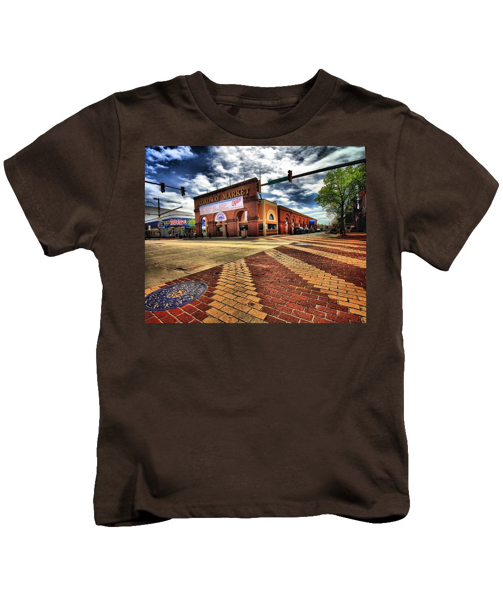 Architectural Art Kids T-Shirt featuring the photograph On Broadway by Robert McCubbin
