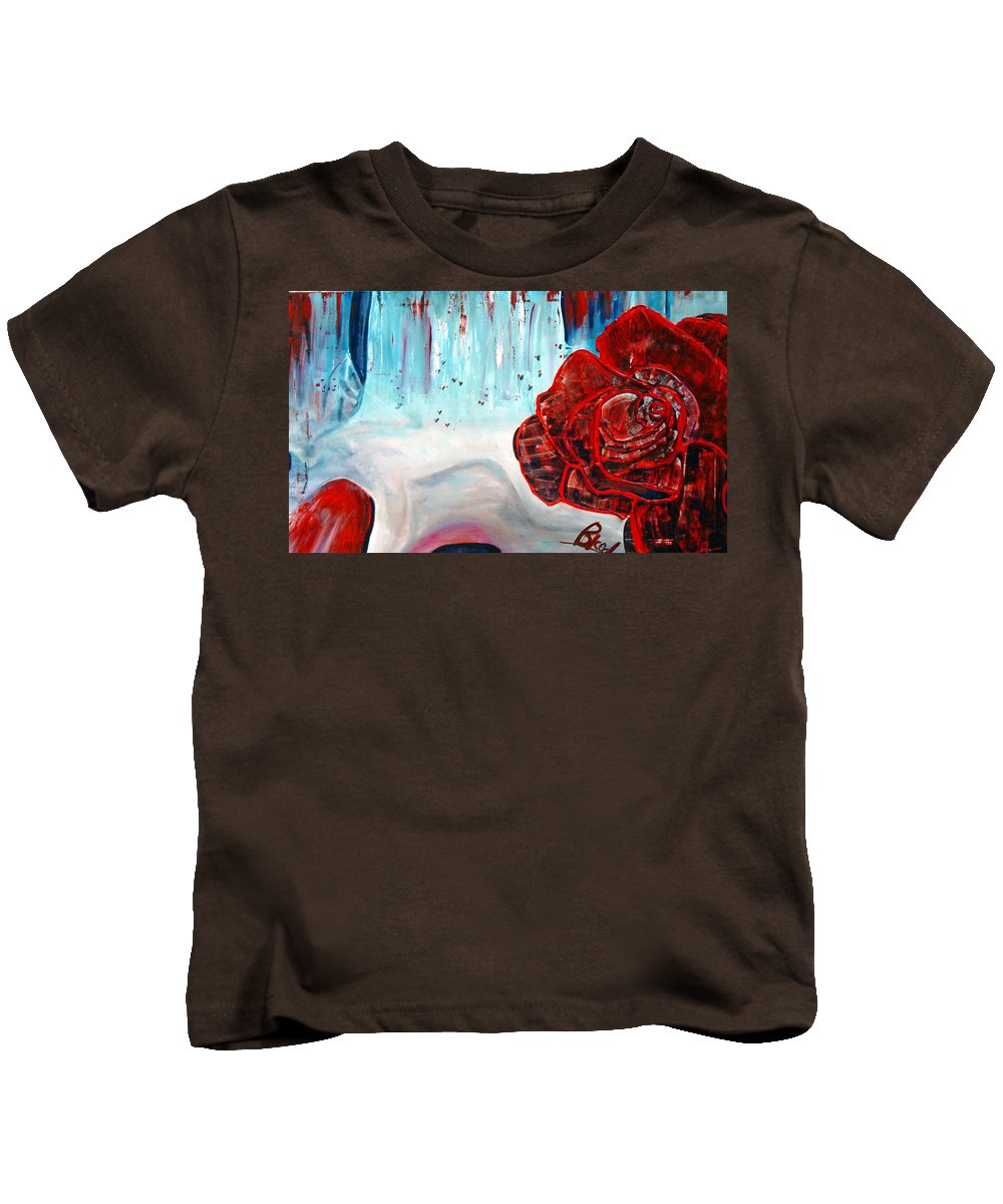 Landscape Kids T-Shirt featuring the painting Op And Rose by Peggy Blood