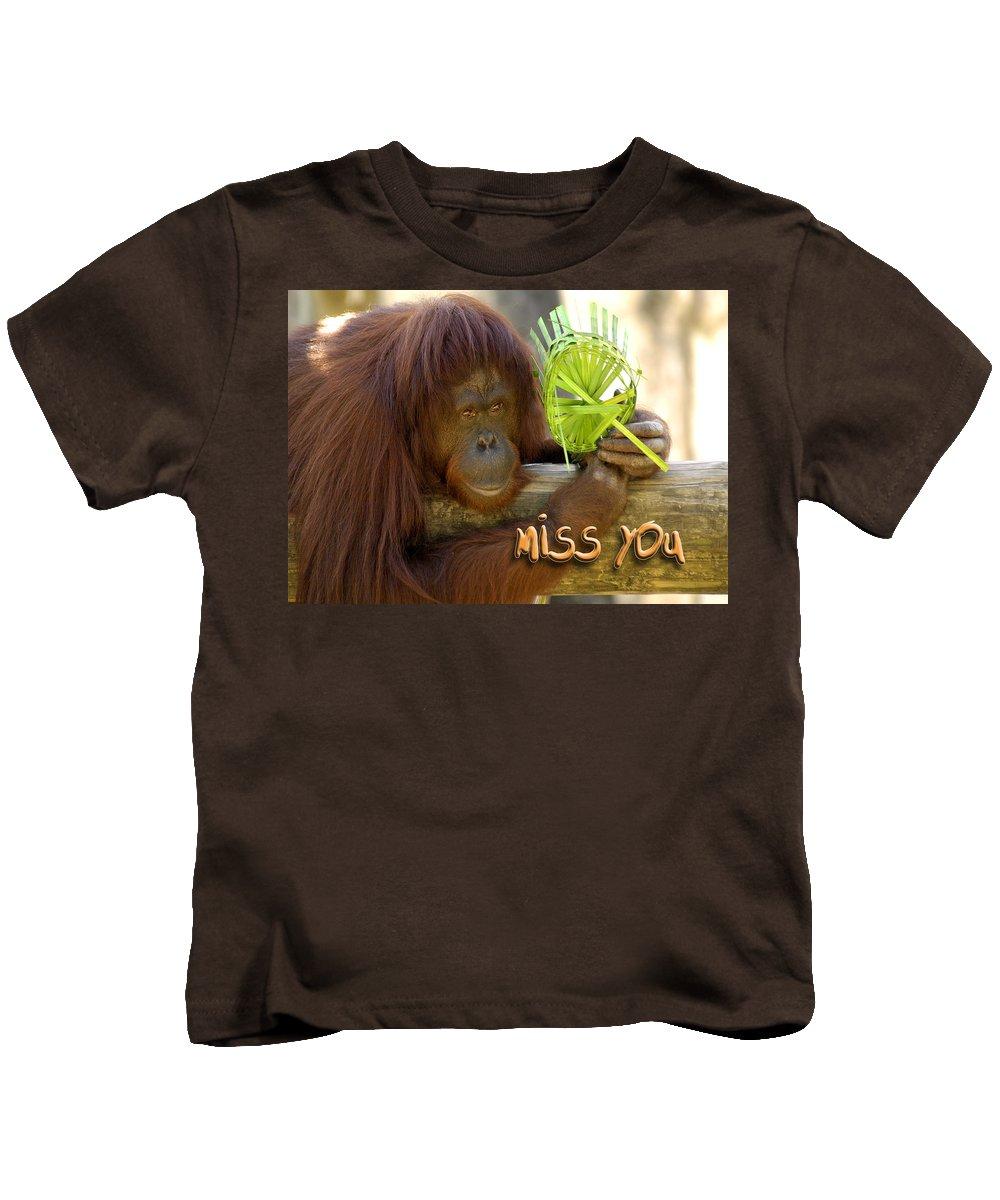 Orangutan Kids T-Shirt featuring the photograph Orangutan Female by Carolyn Marshall