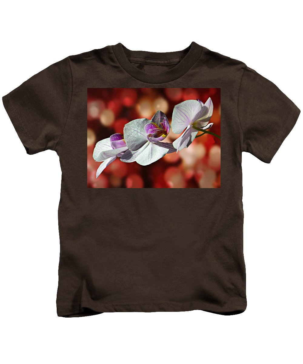 Orchid Kids T-Shirt featuring the photograph Orchid Flower Photographic Art by David Dehner