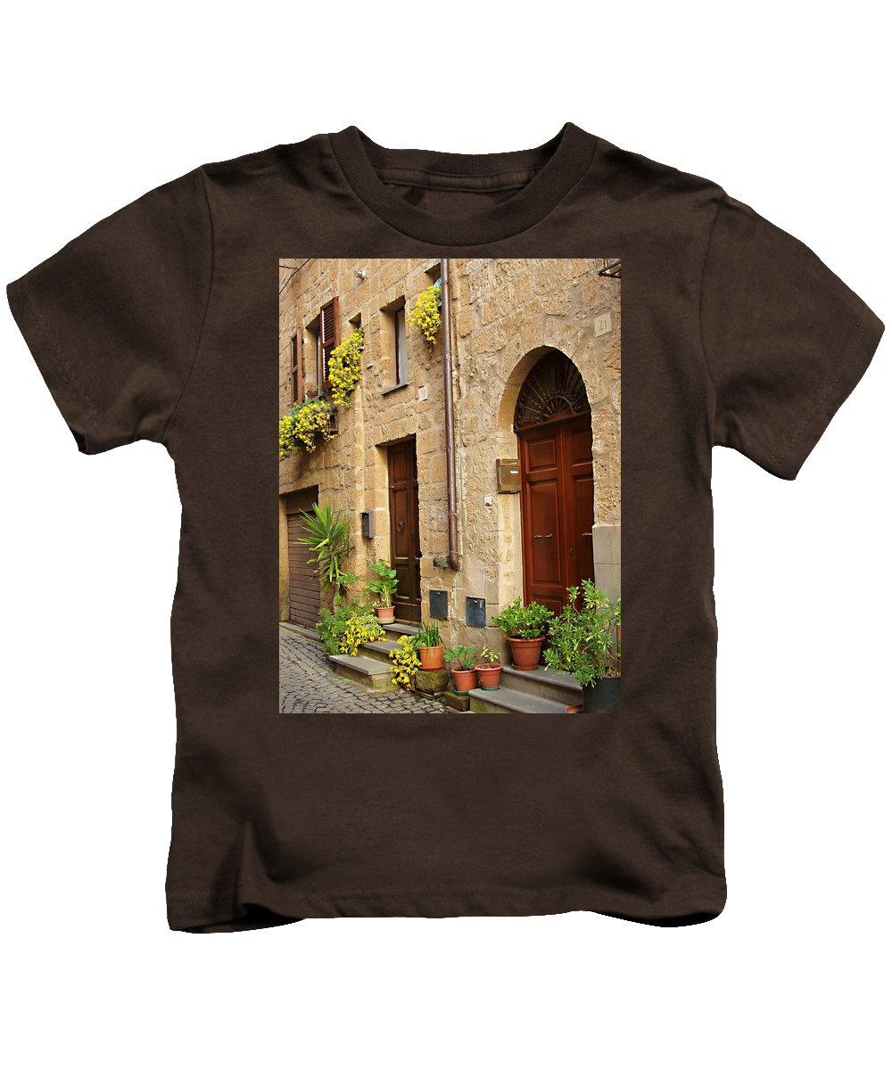 Orvieto Homes Kids T-Shirt featuring the photograph Orvieto Homes by Ellen Henneke