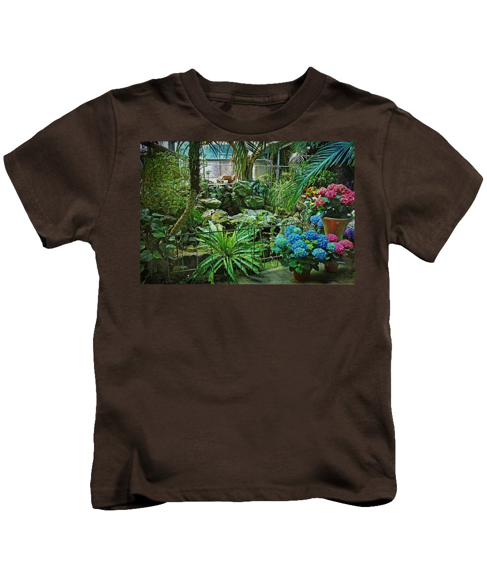 Greenhouse Kids T-Shirt featuring the photograph Ott's Greenhouse - Schwenksville - Pennsylvania - Usa by Mother Nature
