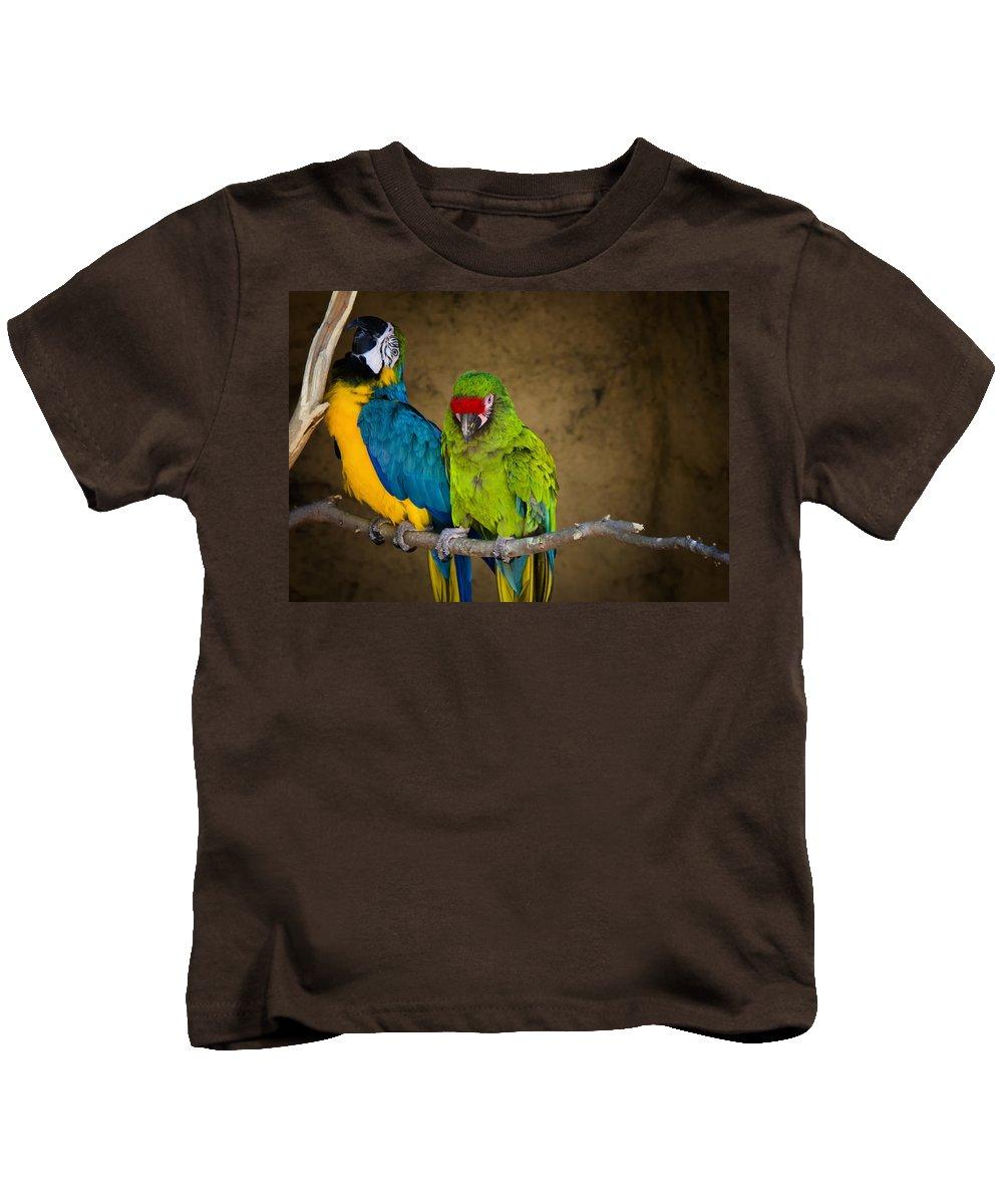 Macaws Kids T-Shirt featuring the photograph Out On A Limb by Saija Lehtonen