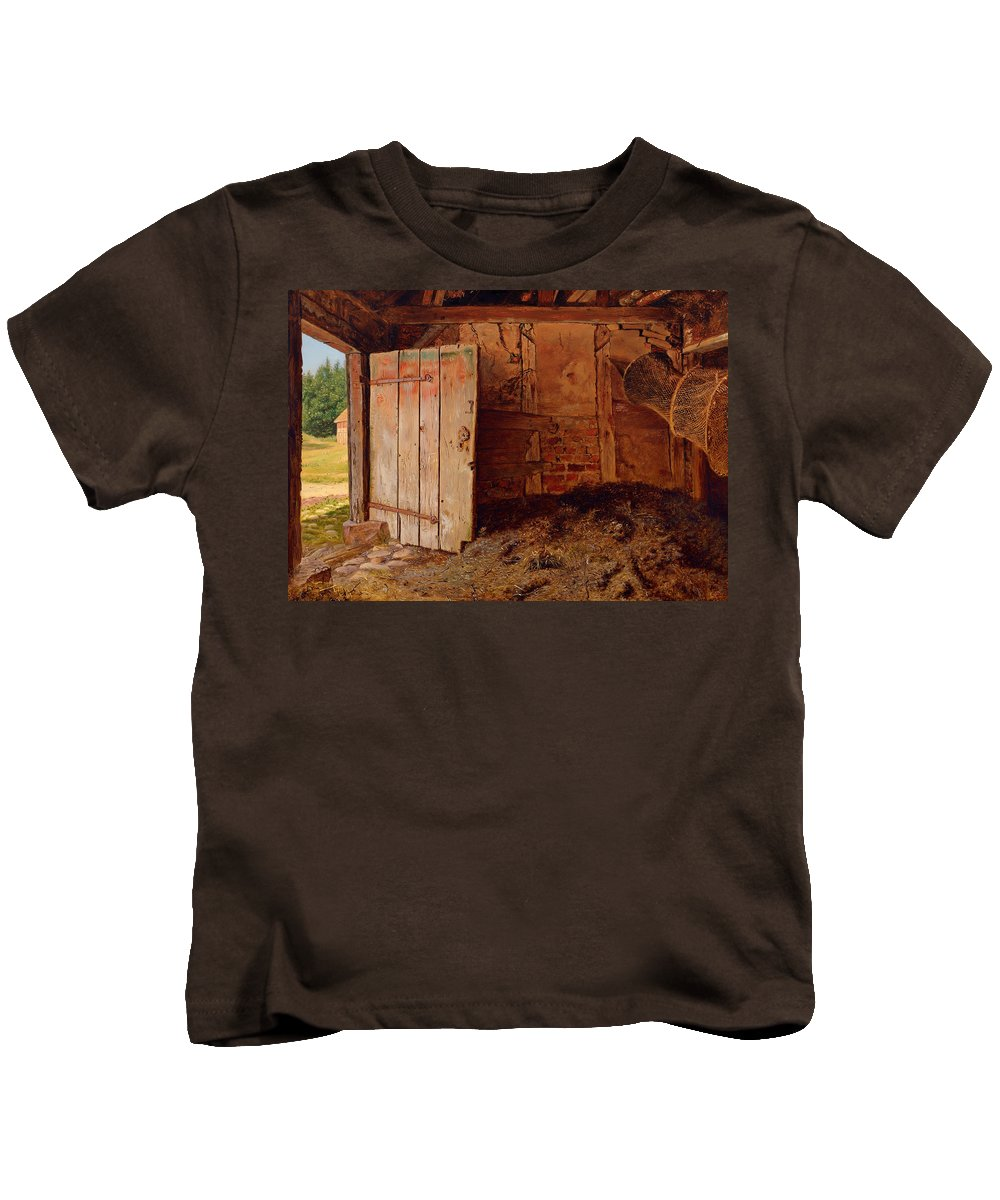 Painting Kids T-Shirt featuring the painting Outhouse Interior by Mountain Dreams