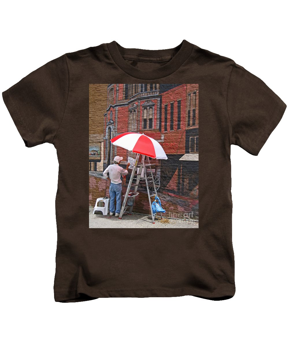 Artist Kids T-Shirt featuring the photograph Painting The Past by Ann Horn