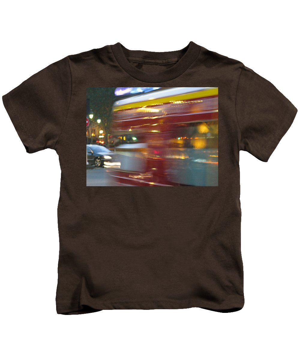 Paris Kids T-Shirt featuring the photograph Paris Bus Pont Au Change Or One Half Step Away From The Hereafter by Joe Schofield