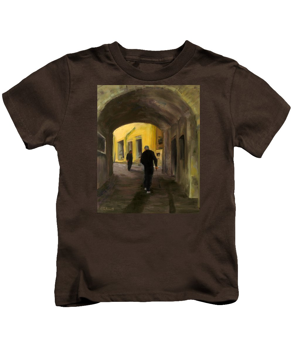Tunnel Kids T-Shirt featuring the painting Passage by Connie Schaertl