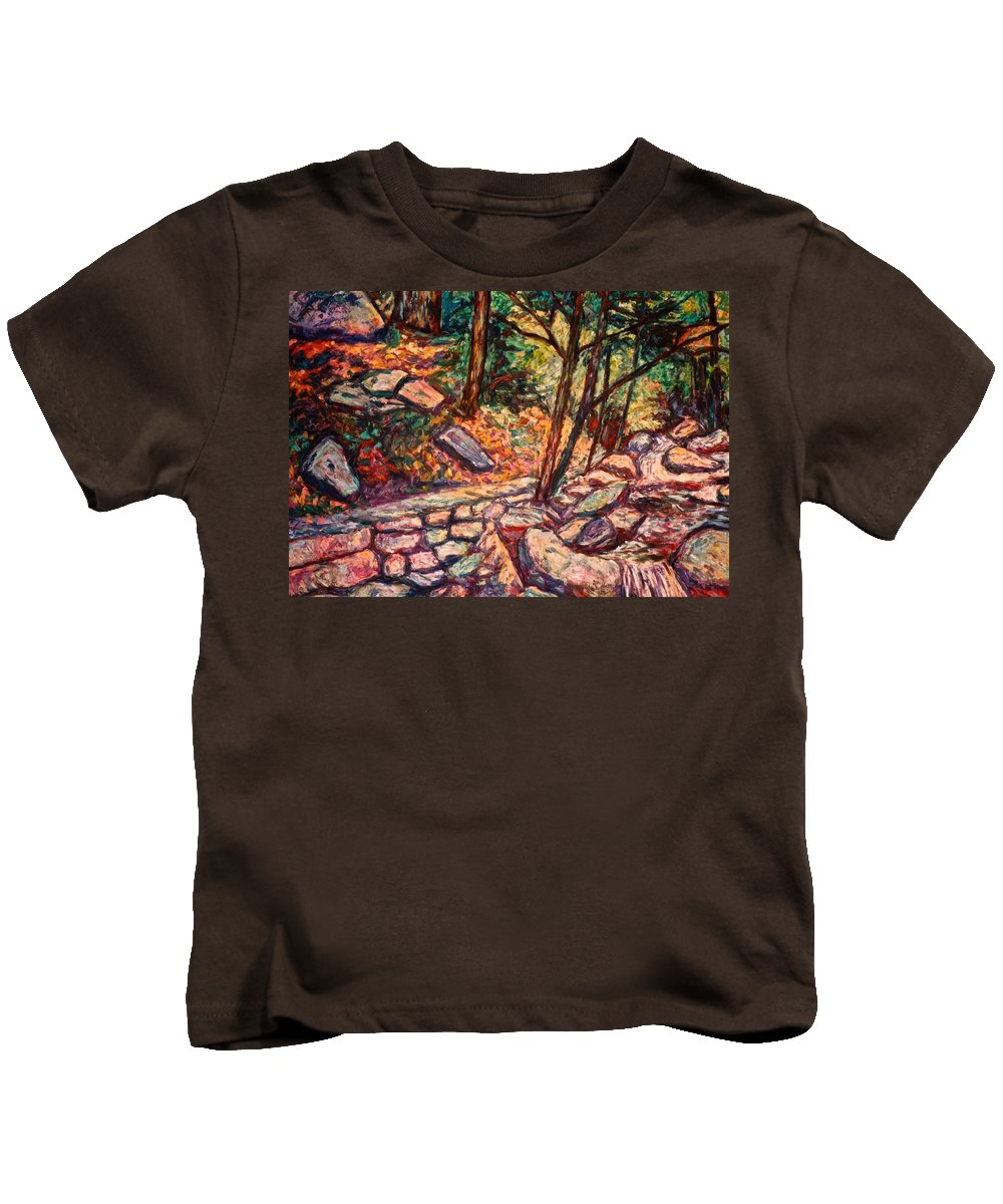 Landscape Kids T-Shirt featuring the painting Path To The Cascades by Kendall Kessler